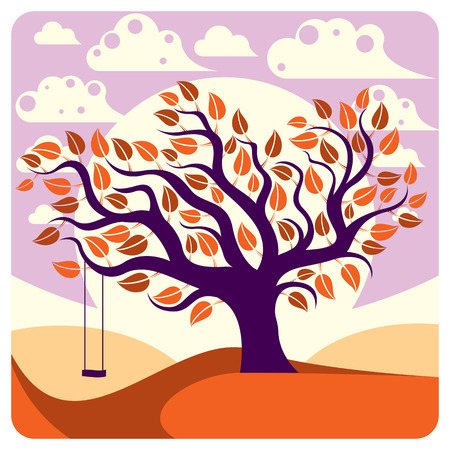 peaceful scene: Vector branchy tree with swing on beautiful cloudy autumn landscape.  Idyllic and peaceful scene, insight vector image.