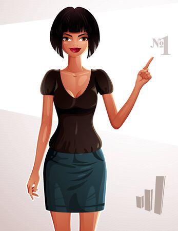 Ilustración de una mujer joven y bonita. Retrato de cuerpo entero de una dama coqueta, chica bronceada que señala en algo a lado con el dedo. Número uno concepto.