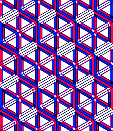 Graphic seamless abstract pattern, regular geometric colorful 3d background. Contrast ornament, EPS10 transparent backdrop.