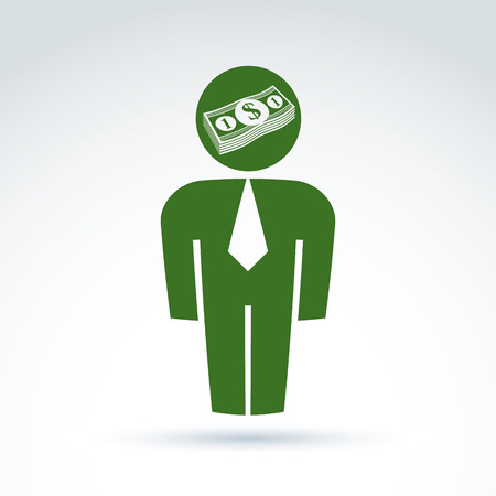financier: Silhouette of person standing in front - vector illustration of an financier.  Delegate, consultant, white-collar worker, CFO. Vector banking symbol, dollar currency icon, bundle of money.