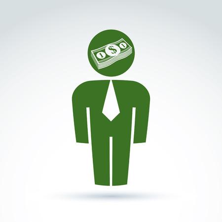 delegar: Silueta de la persona de pie delante - ilustraci�n vectorial de un financiero. Delegado, consultor, trabajador de cuello blanco, CFO. Vector s�mbolo de la banca, icono de la moneda del d�lar, paquete de dinero.