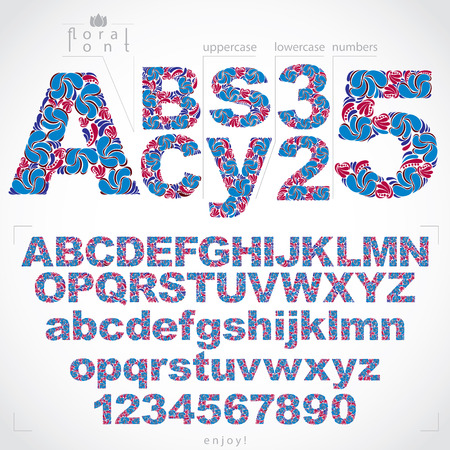 flowery: Ecology style flowery font and numbers, vector typeset made using natural ornament. Numeration from 0 to 9 and alphabet letters created with spring leaves and floral design.