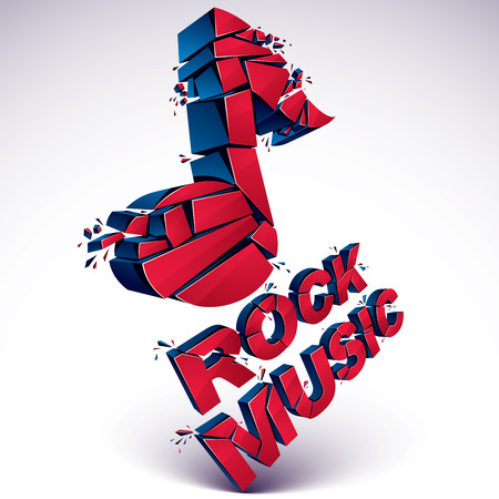 Red 3d vector shattered musical note with specks and refractions. Dimensional facet design music demolished symbol. Rock music theme. Illustration