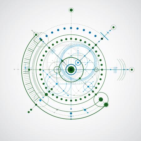 dibujo tecnico: Dibujo técnico realiza mediante líneas de puntos y círculos geométricos. papel pintado colorido creado en el estilo de la tecnología de las comunicaciones, el diseño del motor.