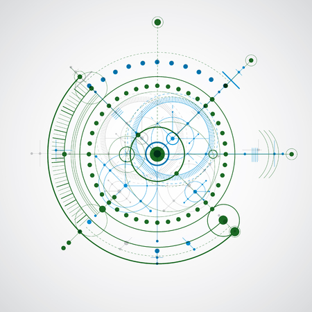 technical drawing: Technical drawing made using dashed lines and geometric circles. Colorful vector wallpaper created in communications technology style, engine design. Illustration