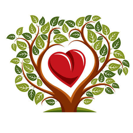 Vector illustration of tree with branches in the shape of heart with an apple inside, love and motherhood idea image. Tree of life theme illustration. Иллюстрация