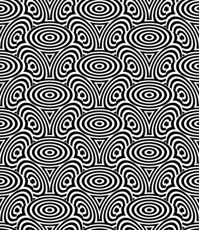 Monochrome illusory abstract geometric seamless pattern with 3d geometric figures. Vector black and white striped backdrop. Illustration