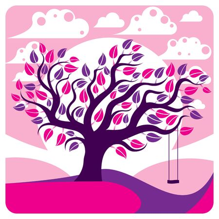 peaceful scene: Vector branchy tree with swing on beautiful cloudy spring landscape.  Idyllic and peaceful scene, insight vector image, purple. Illustration
