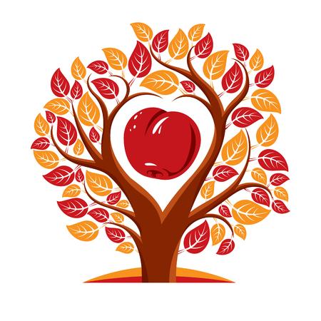 Vector illustration d'un arbre avec des feuilles et des branches en forme de coeur avec une pomme à l'intérieur. Fécondité et fertilité idée de l'image symbolique.