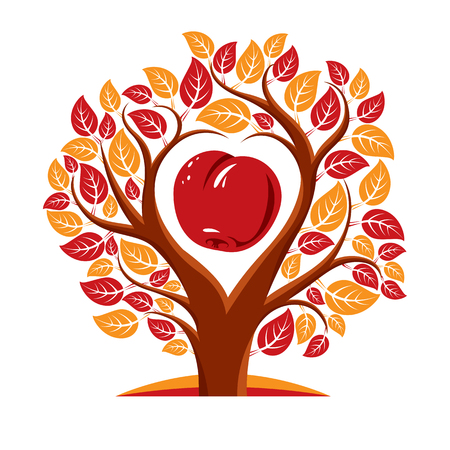 genealogy tree: Vector illustration of tree with leaves and branches in the shape of heart with an apple inside. Fruitfulness and fertility idea symbolic picture.
