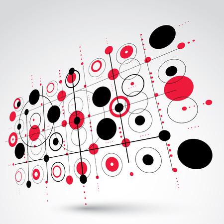 perspectiva lineal: Papel pintado retro de la Bauhaus, la perspectiva del arte rojo de vectores de fondo hecha usando la red y círculos. Geométrica 1960 ilustración gráfica se puede utilizar como diseño de la cubierta folleto.