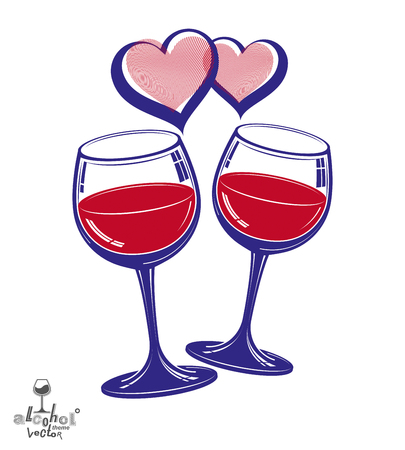 Valentine's day theme vector illustration. Two wineglasses with two loving hearts, romantic rendezvous concept, lifestyle and leisure.