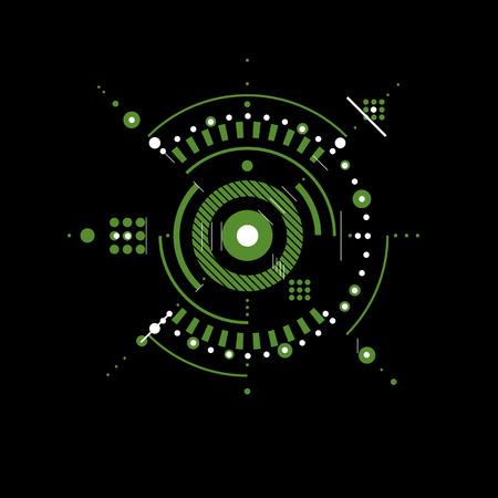 dibujo tecnico: Dibujo t�cnico realiza mediante l�neas de puntos y c�rculos geom�tricos. Papel pintado del vector creado en el estilo de la tecnolog�a de las comunicaciones, el dise�o del motor.