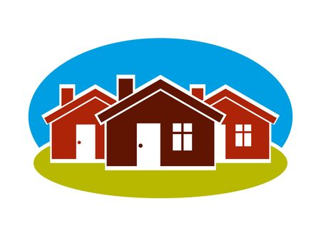 District conceptual vector illustration, three simple houses. Houses art picture, real estate theme. Abstract image, best for use in advertising, estate and construction business. Illustration