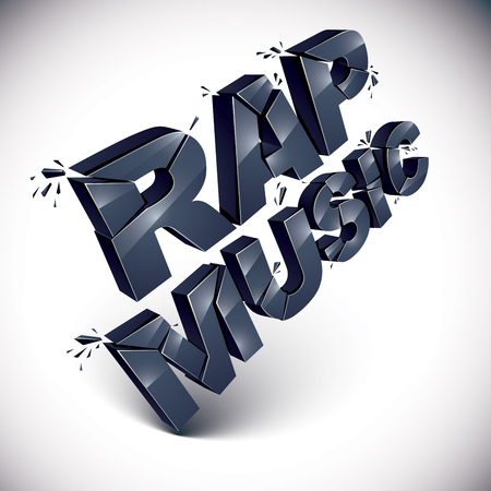 rap music: Black 3d rap music word broken into pieces, demolished vector design element. Shattered art stylish inscription.