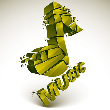 groove: 3d vector green demolished musical notes, music word. Dimensional groove design element with refractions, explosion effect.