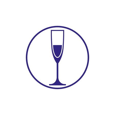 rendezvous: Classic champagne glass, alcohol beverage theme illustration. Lifestyle graphic design element.  Relaxation and leisure icon, for use in graphic design.