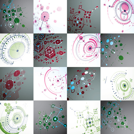 perspectiva lineal: Set of modular Bauhaus 3d vector backdrops, created from geometric figures like hexagons, circles and lines. For use as advertising poster or banner design. Perspective abstract mechanical schemes. Vectores