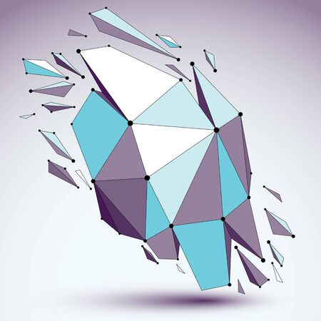 Abstract 3d faceted figure with connected black lines and dots. Vector blue low poly shattered design element with fragments and particles. Explosion effect.