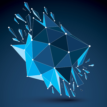 3d vector low poly object with blue connected lines and dots, geometric wireframe shape with refractions. Asymmetric perspective shattered form. Luminescent effect, communication technology.