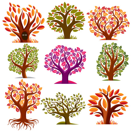 fruitful: Set of stylized vector trees with green and orange leaves, ecology art decorative symbols collection. Two eyes of an animal looking from hollow, graphic design ecology symbol.