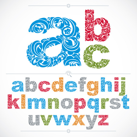 typescript: Set of vector ornate lowercase letters, flower-patterned typescript. Colorful characters created using herbal texture.