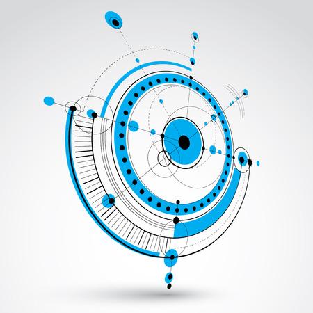 dibujo tecnico: Dibujo técnico realiza mediante líneas de puntos y círculos geométricos. Papel pintado azul del vector de la perspectiva creada en estilo de tecnología de las comunicaciones, el diseño del motor 3d. Vectores