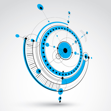 communications technology: Technical drawing made using dashed lines and geometric circles. Blue perspective vector wallpaper created in communications technology style, 3d engine design.