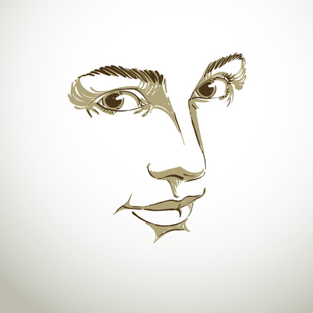 dreamy: Portrait of tender dreamy still woman, black and white vector drawing. Emotional expressions idea image, face features. Monochrome illustration.