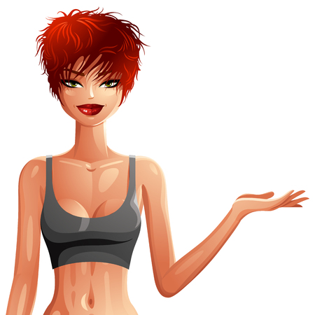 Attractive white-skin woman in sportswear. Colorful drawing of cute slender Caucasian girl with stylish haircut showing something to side. Sport, fitness and healthy lifestyle theme.