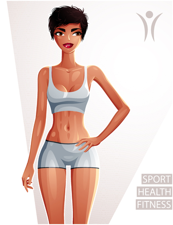 Sexy coquette tanned woman full body portrait. Gorgeous lady in a sportswear with a stylish makeup isolated on white background.  Sport, health and fitness.