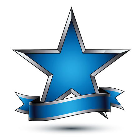 Vector glorious glossy design element, luxury blue 3d star with silver outline, conceptual graphic template, clear EPS 8 gray decorative symbol. Illustration