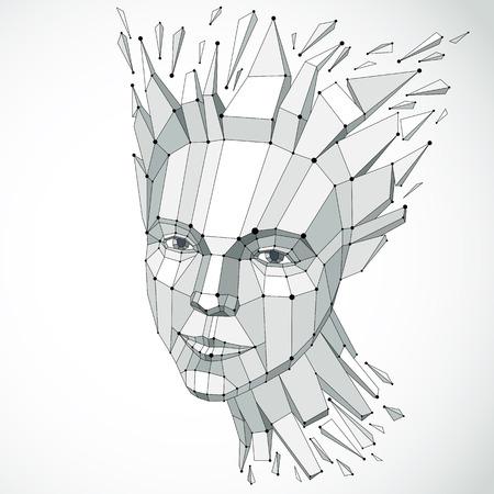 Vector Dimensional Low-Poly-weibliches Porträt, Grafische ...