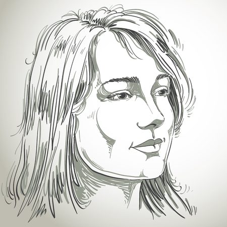 dreamy: Portrait of delicate good-looking dreamy still woman, black and white vector drawing. Emotional expressions idea image.