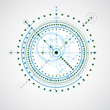 technical drawing: Technical drawing made using dashed lines and geometric circles. Blue and green vector wallpaper created in communications technology style, engine design.