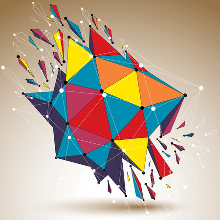 fractures: 3d vector low poly digital object with connected lines and dots, colorful geometric wireframe shape with different fractures. Asymmetric perspective shattered form.