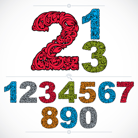 numeration: Floral numerals, hand-drawn vector numbers decorated with botanical pattern. Colorful ornamental numeration, digits made in vintage design. Illustration