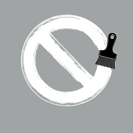 Vector art hand-painted prohibition sign, ban symbol drawn with paintbrush. Simple brushed monochrome stop icon isolated. Illustration