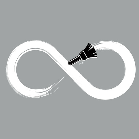 everlasting: Eternity vector hand-drawn symbol isolated, grayscale limitless sign drawn with paintbrush. Monochrome smudge infinity illustration made with brushstrokes. Illustration