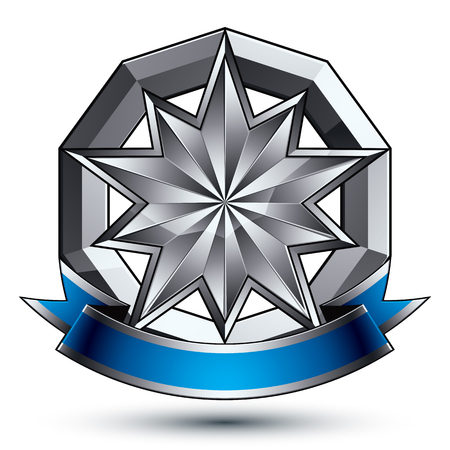 Vector classic emblem isolated on white background. Aristocratic badge with silver star and blue and gray ribbon clear EPS 8.