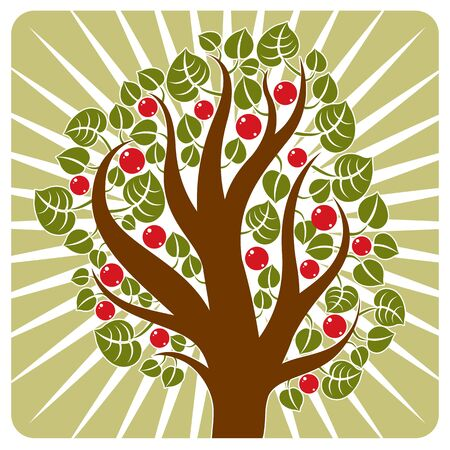 Fruity tree with ripe apples placed on stylized background. Organic and eco food idea vector image. Illustration
