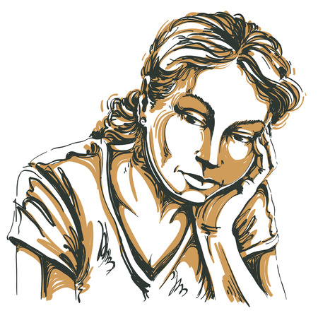 bemused: Vector art drawing, portrait of sad and depressed girl, thinking about something. Facial expressions, people emotions, romantic and tender young woman.