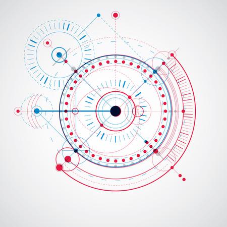 dibujo tecnico: Dibujo t�cnico realiza mediante l�neas de puntos y c�rculos geom�tricos. Azul y rojo del vector fondo de pantalla creado en el estilo de la tecnolog�a de las comunicaciones, el dise�o del motor.