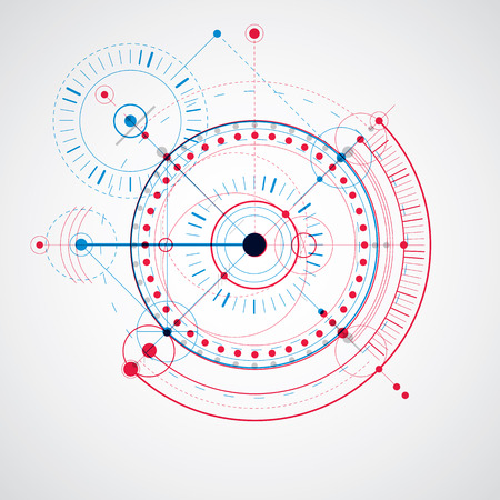 technical drawing: Technical drawing made using dashed lines and geometric circles. Blue and red vector wallpaper created in communications technology style, engine design. Illustration
