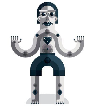 cubismo: ilustración vectorial de estilo modernista hecha de figuras geométricas. Diseño plano imagen de la criatura mítica, tema cubismo. Concepto del amor.