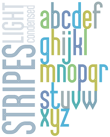 verb: Poster retro font with triple stripes, bright condensed lowercase letters on white background.