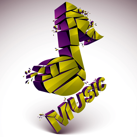 transform: 3d vector green shattered musical notes with music word. Art melody transform symbol broken into pieces.