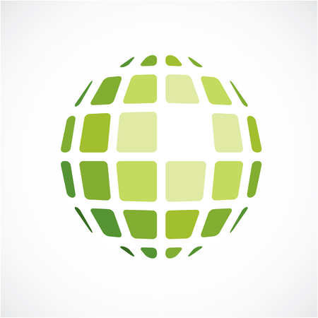 3d vector digital spherical object made using square facets. Low poly shape, green polygonal globe, abstract form for use in web design.