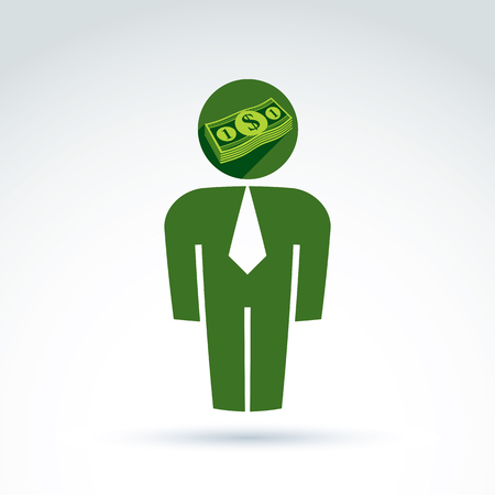 white collar: White collar business worker man icon with dollar sign, conceptual vector symbol.