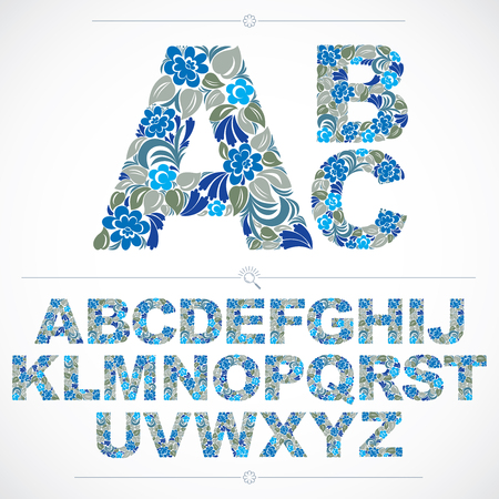 typescript: Blue floral font, hand-drawn vector capital alphabet letters decorated with botanical pattern. Ornamental typescript, vintage design lettering.